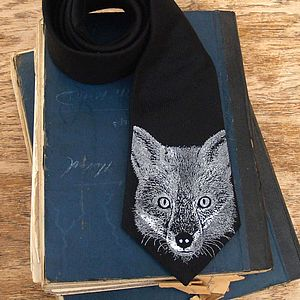Black Fox Print Wool Tie