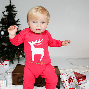 Personalised 'Rudolf First Christmas'' Romper - babygrows