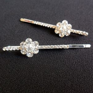 Pair Of Diamante Flower Hair Clips - hair accessories