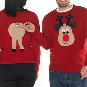 Matching Rear End Rudolph Christmas Jumper