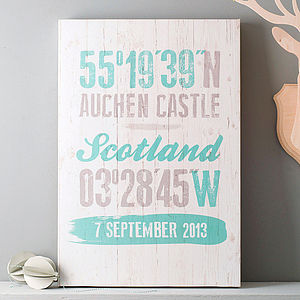 Personalised Coordinates Canvas Print - gifts for him