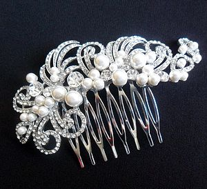 Vintage Inspired Crystal And Pearl Hair Comb - wedding jewellery