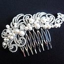 Vintage Inspired Crystal And Pearl Hair Comb