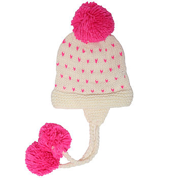 Spotty Oversized Earflap Hat - Cream and Pink