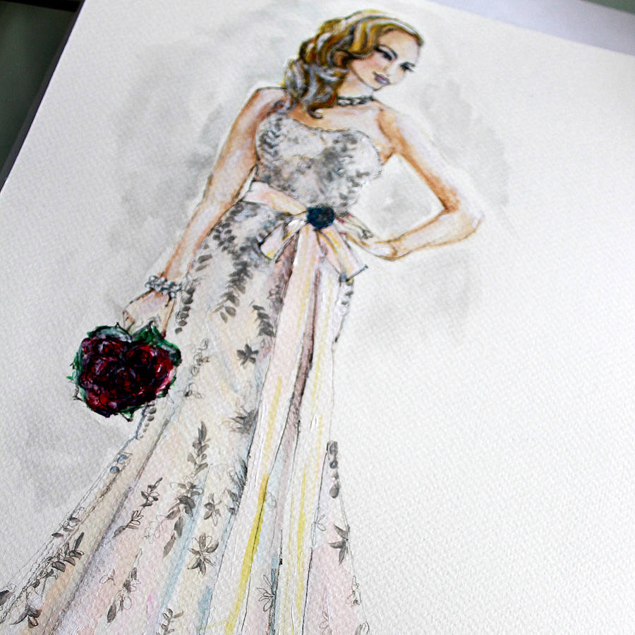Wedding dress illustration a3 size by 2by2 creative Wedding dress illustration