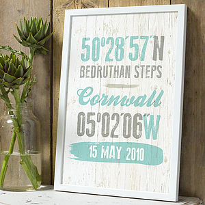 Personalised Coordinate Location Print - posters & prints