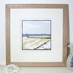 Coastal Beach Art Print 'Low Tide At West Wittering'