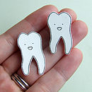 Tooth Illustrated Pin Badge Brooch