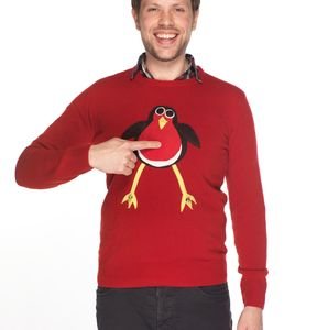 Squeaky Jingly Robin Christmas Jumper - men's sale
