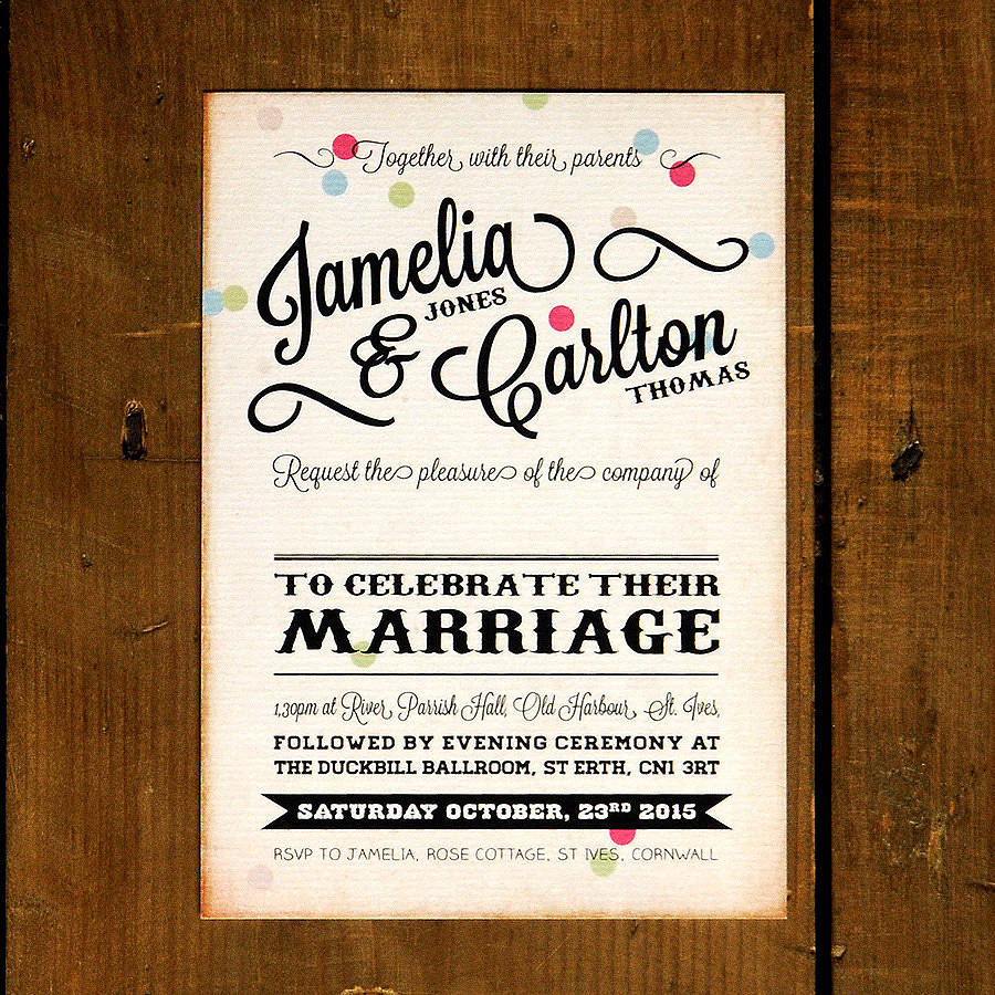 vintage confetti wedding invitation by feel good wedding invitations ...