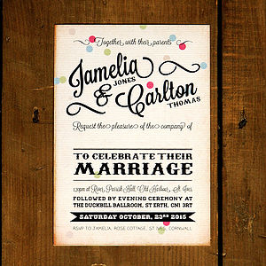 Vintage Confetti Wedding Invitation