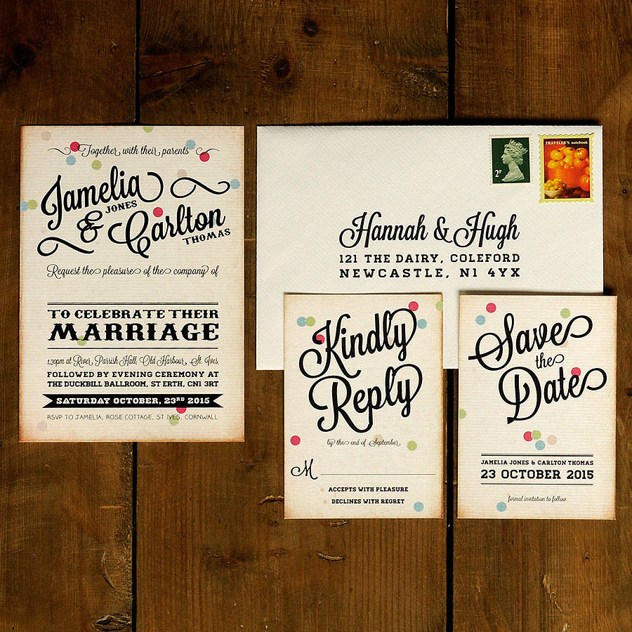 Vintage Wedding Invitations: Vintage Confetti Wedding Invitation By Feel Good Wedding
