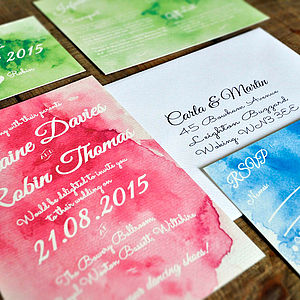 Watercolour Wedding Day Or Evening Invitation - wedding stationery