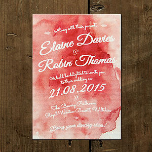 Watercolour Wedding Day Or Evening Invitation