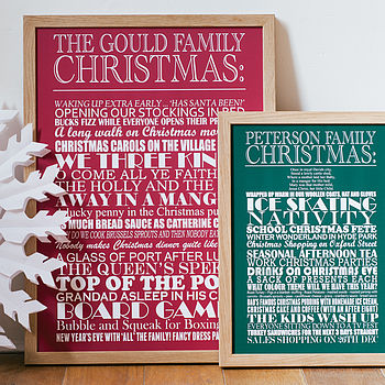 Medium green and large red Personalised Christmas Traditions Print