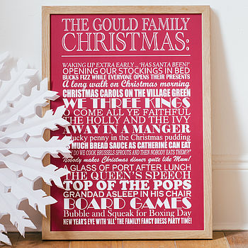 Large red Personalised Christmas Traditions Print