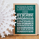 Medium green Personalised Christmas Traditions Print
