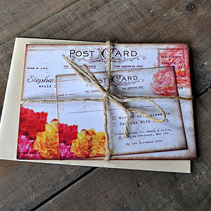Floral Vintage Postcard Wedding Invitation - invitations