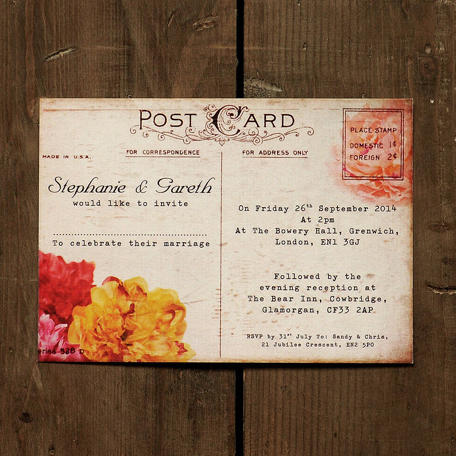 Fl Vintage Postcard Wedding Invitation