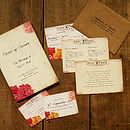 Floral Vintage Postcard Suite Including Order of Service