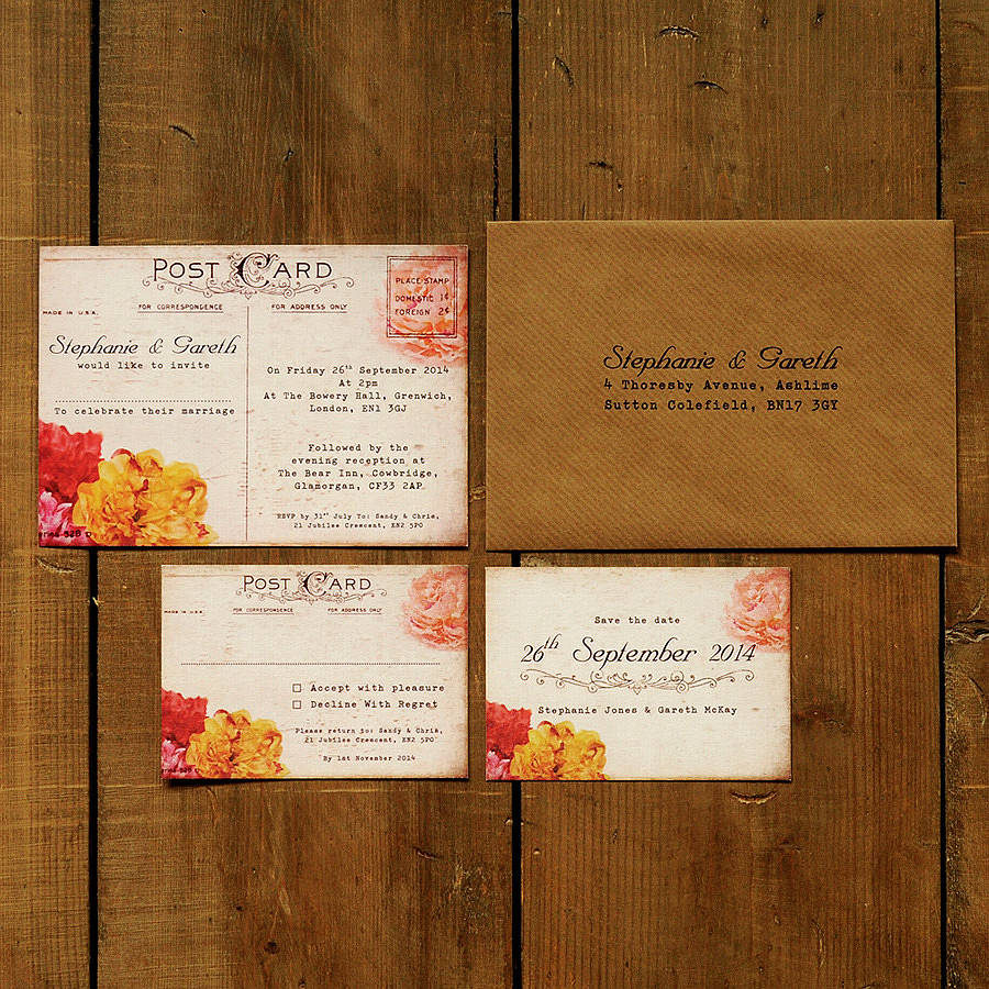 Floral Vintage Postcard Wedding Invitation Suite floral