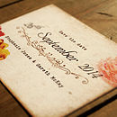 Floral Vintage Postcard Save the Date Card Detail