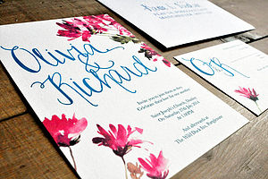 Hand Lettered Watercolour Wedding Invitation - thank you cards