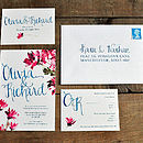 Hande Lettered Watercolour Wedding Inivtation Suite