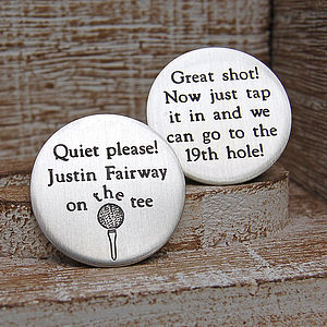 Personalised Silver Quiet Please Golf Marker