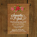 Floral Burlap Wedding Invitation