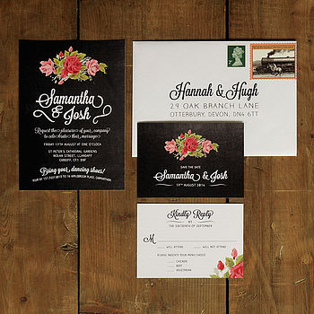 Floral Chalkboard Wedding Invitation Suite