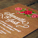 Floral Burlap Wedding Invittion Detail