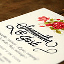 Floral Whiteboard Wedding Invitation Detail