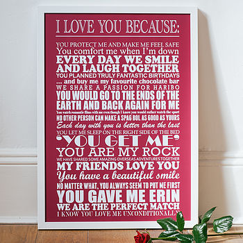 Large - White text - Merlot background - I Love You Because Print