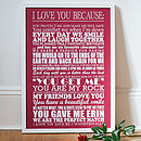 Large red I Love You Because Print