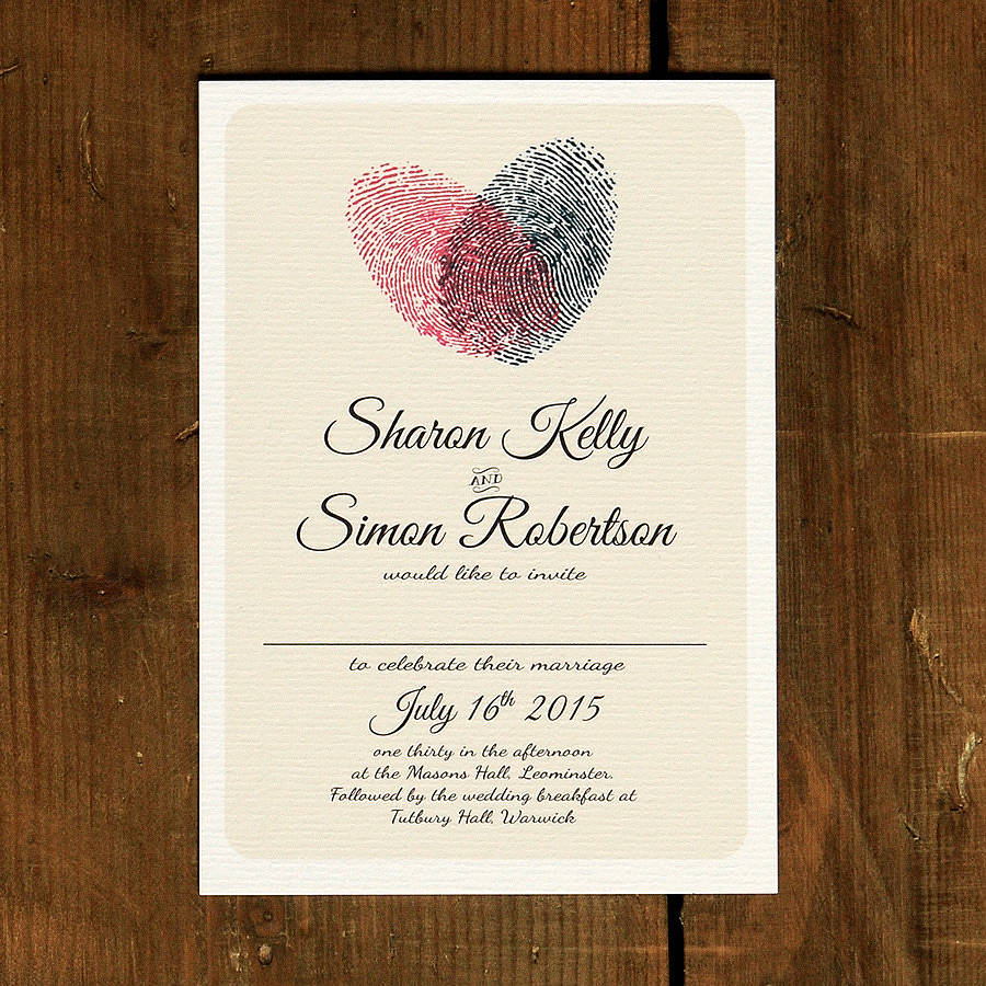 fingerprint heart wedding invitation and save the date by feel ...