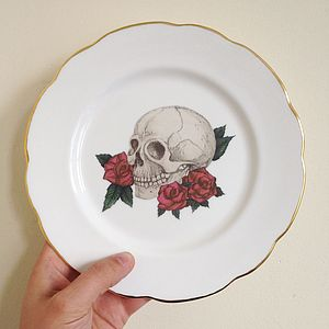 Skull And Rose Illustrated Plate Art
