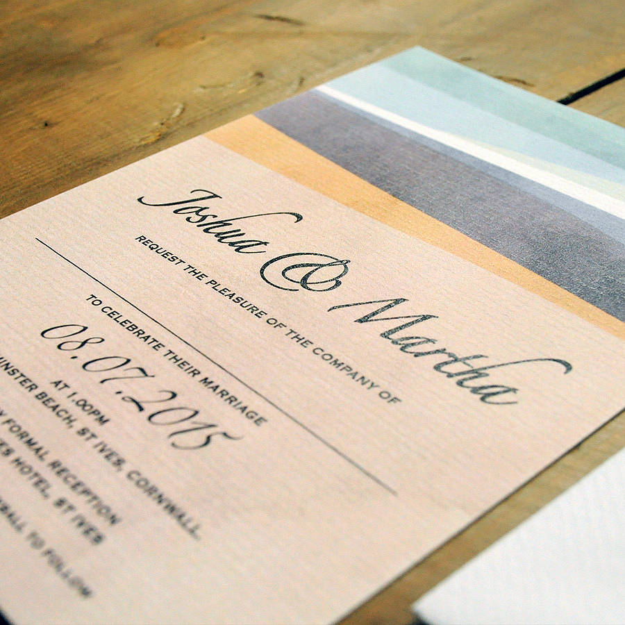 St Ives Bay Wedding Invitation Detail st