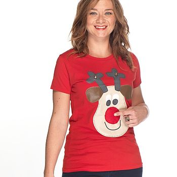 Women's Squeaky Nose Rudolph T Shirt
