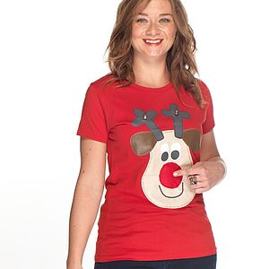 Women's Squeaky Nose Rudolph T Shirt - women's sale