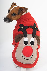 Squeaky Rudolph Christmas Dog Jumper - christmas jumpers