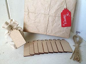 10 X Plain Wooden Gift Tags - favour stamps and tags