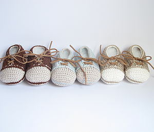 Hand Crochet Leather Laced Baby Shoes - socks, tights & booties