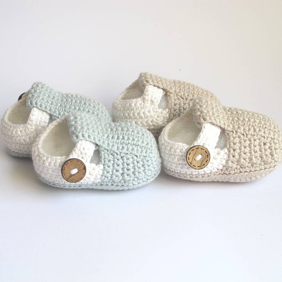 Hand Crochet : hand crochet t bar baby shoes by attic notonthehighstreet.com
