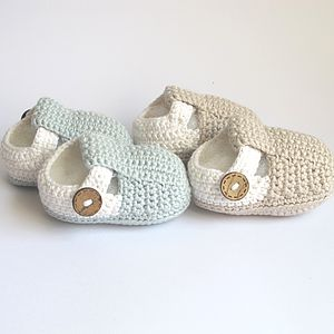 Hand Crochet T Bar Baby Shoes - christening wear
