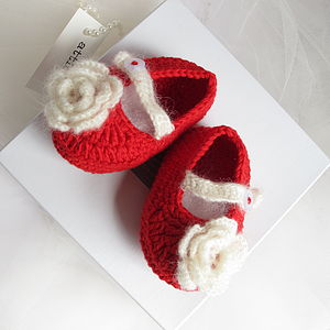 Hand Crochet Little Red Shoes - clothing