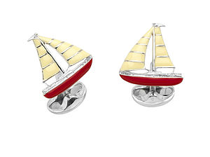 Solid Silver And Enamel Sailboat Cufflinks
