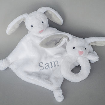 Personalised Bunny Rattle And Comforter