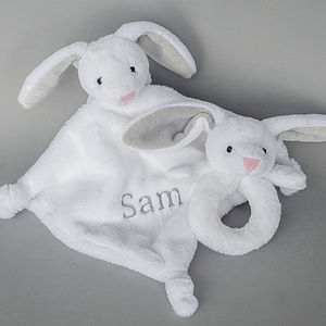 Personalised Bunny Rattle And Comforter - baby care