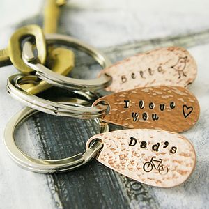 Personalised Copper Keyring 36 Design Stamps - for him